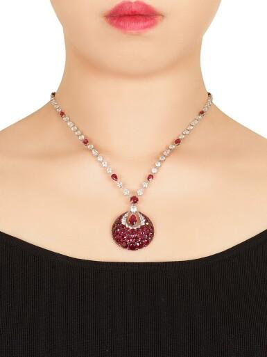 View 3. Thumbnail of Lot 1849. 'Bombé Classic' Ruby and Diamond Pendent Necklace | 格拉夫 | 'Bombé Classic' 紅寶石 配 鑽石 項鏈.