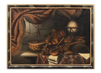 View 4. Thumbnail of Lot 156. Still life with musical instruments and a red drapery;  Still life with musical instruments and a globe.