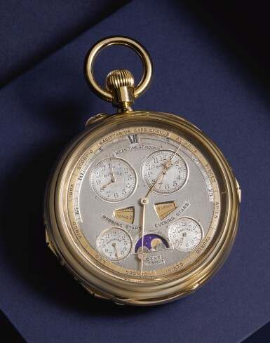 DENT, LONDON  [ Dent,倫敦]   A HIGHLY IMPORTANT, LARGE AND HEAVY ULTRA-COMPLICATED GOLD DOUBLE DIALLED PERPETUAL CALENDAR KEYLESS LEVER MINUTE REPEATING GRANDE AND PETITE SONNERIE CLOCK WATCH WITH EQUATION OF TIME, SIGNS OF THE ZODIAC, TIMES OF SUNRISE AND SUNSET, MOONRISE AND MOONSET, MOON PHASES WITH APPARITION OF THE BIG DIPPER/PLOUGH AT ALTERNATE BLACK MOONS  CIRCA 1904, NO. 32573  [ 極罕有大型超複雜功能黃金雙錶盤萬年曆三問大小自鳴懷錶備時間等式、黃道十二宮、日出日落及月出月落時間、月相顯示及北斗七星顯現期,年份約1904,編號32573]