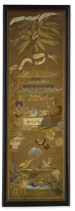 A SET OF FIVE ENGLISH EMBROIDERY AND RAISED-WORK PANELS DEPICTING CHINOISERIE SCENES, EARLY 18TH CENTURY