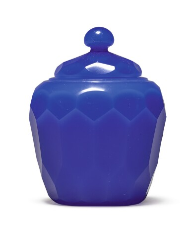 View 1. Thumbnail of Lot 1011. A FACETED ROYAL-BLUE GLASS JAR AND COVER, QING DYNASTY, 18TH CENTURY.