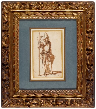 View 3. Thumbnail of Lot 46. SALVATOR ROSA     A STANDING HALBERDIER.