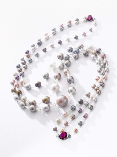 View 3. Thumbnail of Lot 126. Natural pearl, diamond and ruby sautoir/necklace combination | 天然珍珠配鑽石及紅寶石長項鏈/項鏈組合.