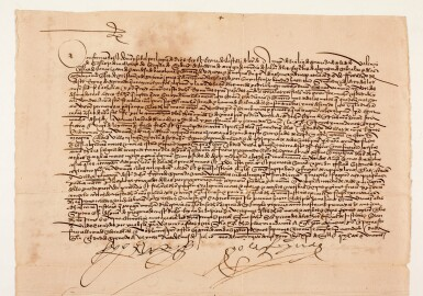 View 3. Thumbnail of Lot 45. FERDINAND AND ISABELLA, King and Queen of Spain | document signed, expelling unconverted Moors, 1501.