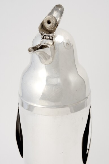 View 1. Thumbnail of Lot 6.  AN AMERICAN SILVER-PLATED PENGUIN-FORM COCKTAIL SHAKER .