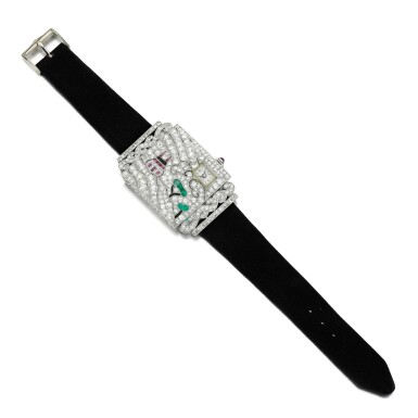 View 2. Thumbnail of Lot 7. Lady's gem set and diamond cocktail watch, 1920s.