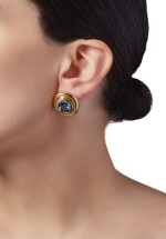 PAIR OF GOLD AND AQUAMARINE EARCLIPS, PALOMA PICASSO FOR TIFFANY & CO.