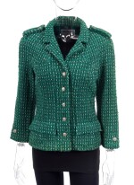GREEN AND WHITE TWEED JACKET AND MATCHING TWEED AND LEATHER CLASSIC SHOULDER BAG, CHANEL