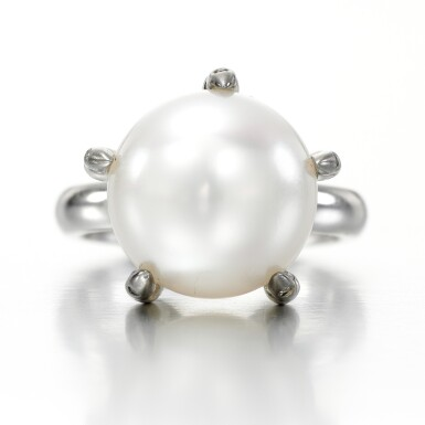 View 1. Thumbnail of Lot 42. Cultured pearl ring, 'Ball Crusher'.