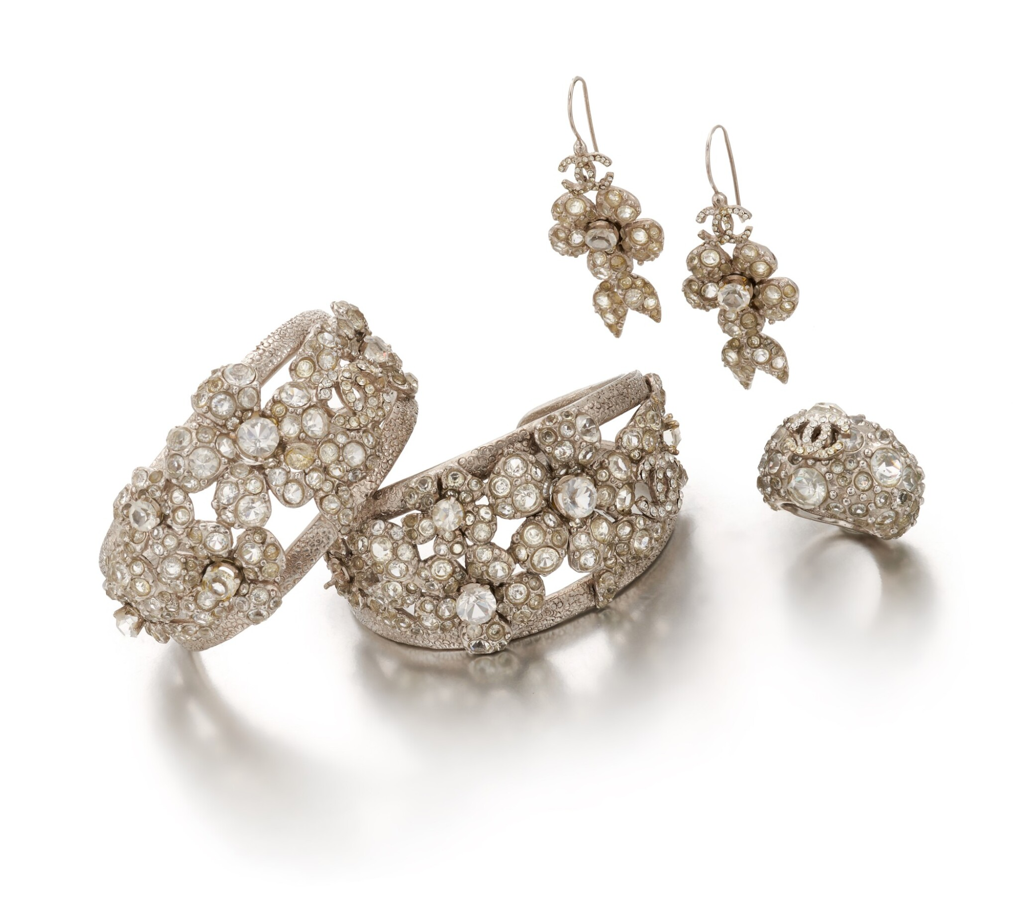 View full screen - View 1 of Lot 136. Collection of crystal 'Camellia' jewellery.