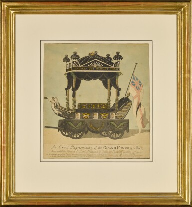 View 2. Thumbnail of Lot 27. A fine painted silk hatchment from the State Funeral Carriage of Vice-Admiral Viscount Nelson, 1805.