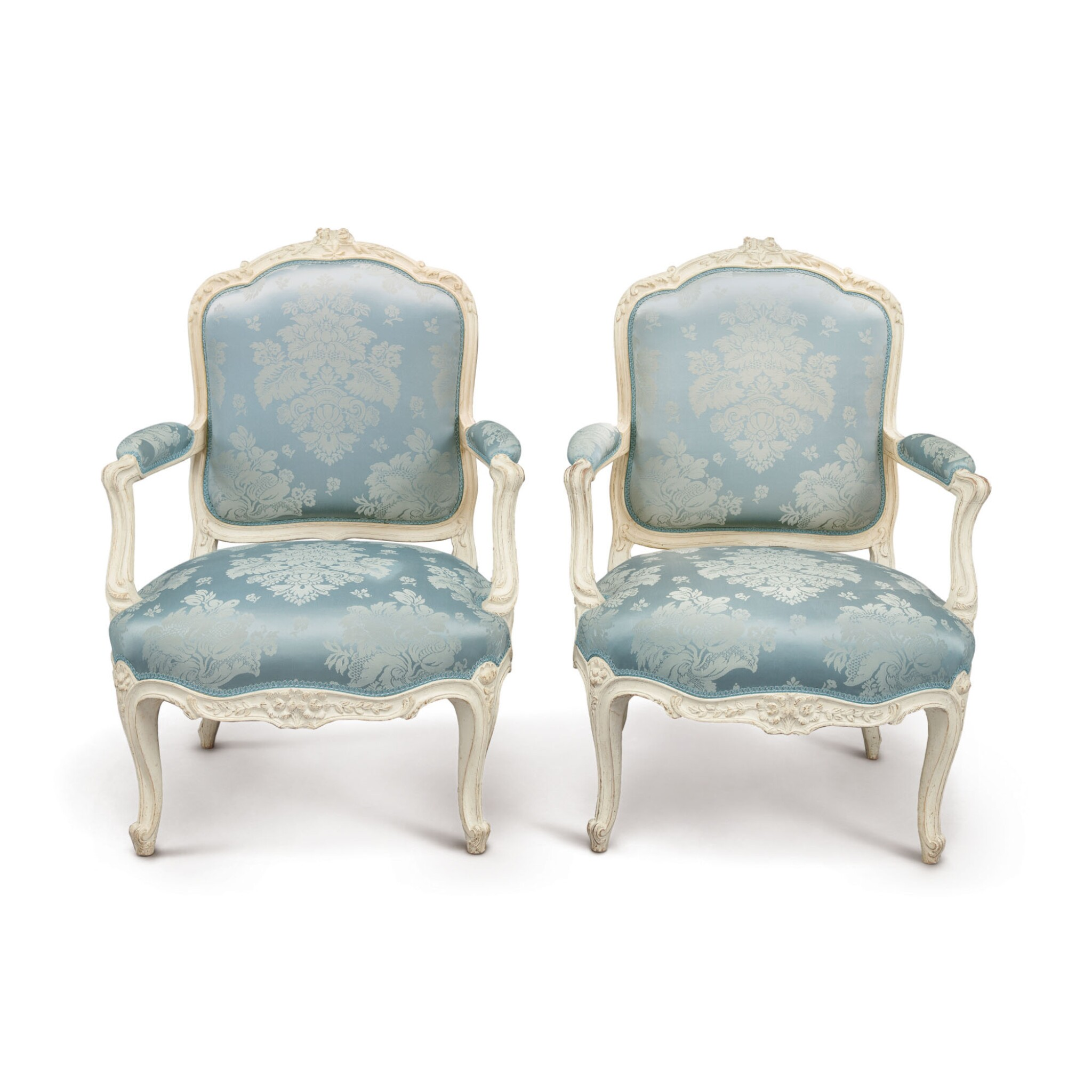 View full screen - View 1 of Lot 681. A PAIR OF LOUIS XV GREY-PAINTED FAUTEUILS À LA REINE BY NADAL, CIRCA 1760.