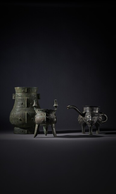 View 8. Thumbnail of Lot 8. A magnificent and rare archaic bronze ritual wine vessel (Hu), Late Shang dynasty   商末 青銅饕餮紋壺.