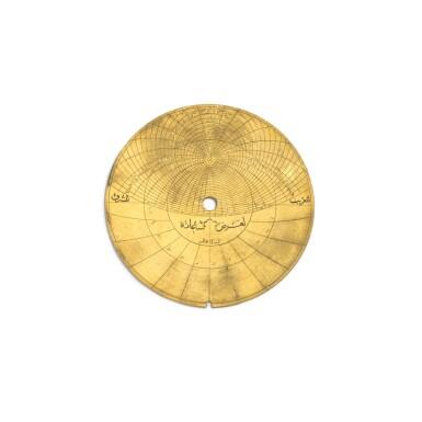 View 7. Thumbnail of Lot 67. A fine Safavid gilt-brass astrolabe made for Imam Mirza Razi al-Din Muhammad Husayni al-Mawsawi (d.1701), signed by Muhammad Husayn ibn Muhammad Baqir al-Yazdi, decorated by Muhammad Mahdi al-Yazdi, Persia, circa 1660.