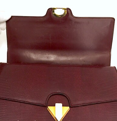 View 13. Thumbnail of Lot 725. GUCCI   BURGUNDY VINTAGE BAG IN LIZARD, c.1960s.