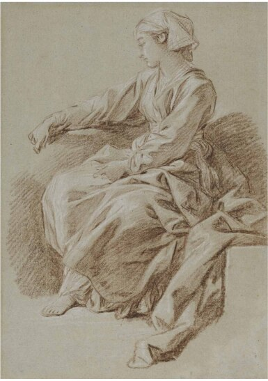 View 1. Thumbnail of Lot 19. FRANÇOIS BOUCHER | STUDY OF A SEATED WOMAN WITH SCARF, FOR L'ÉDUCATION DE LA VIERGE.