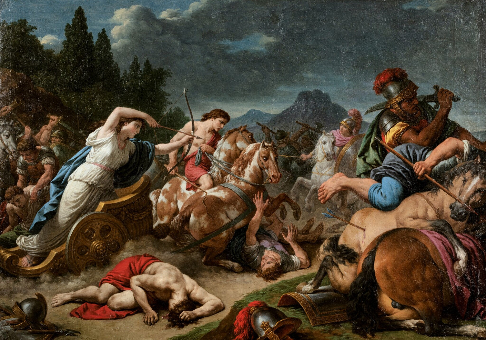 View full screen - View 1 of Lot 32. LOUIS-JEAN-FRANÇOIS LAGRENÉE  |  BELLONA CALLING MARS TO WAR BY HANDING OVER THE REINS TO HER CHARIOT.