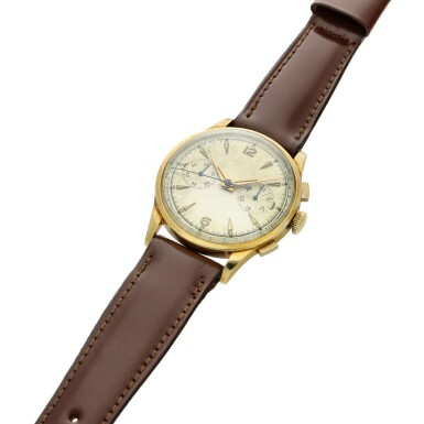 View 6. Thumbnail of Lot 116. Reference 2635  A large yellow gold chronograph wristwatch, Circa 1965 .