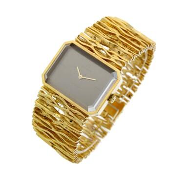 View 2. Thumbnail of Lot 65. Reference 8272 De Ville Designed by Gilbert Albert: A yellow gold rectangular bracelet watch, Circa 1965.