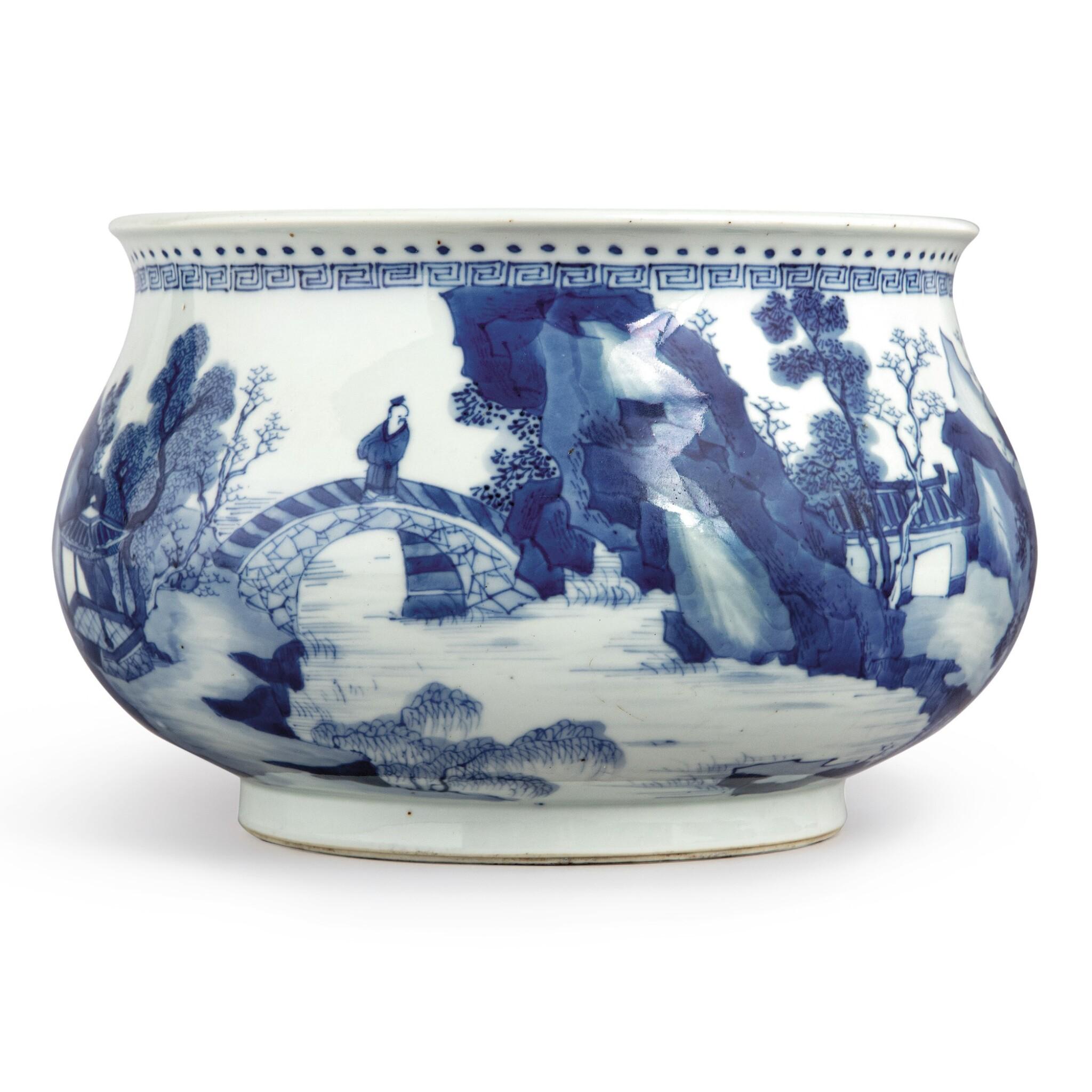 View full screen - View 1 of Lot 142. A blue and white 'landscape' censer, Qing dynasty, Kangxi period | 清康熙 青花山水人物圖爐  《大明成化年製》仿款.