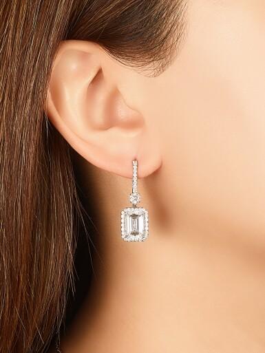 View 2. Thumbnail of Lot 1688. Pair of Diamond Pendent Earrings | 3.01及3.01 方形 D色 內部無暇 鑽石 耳墜一對.