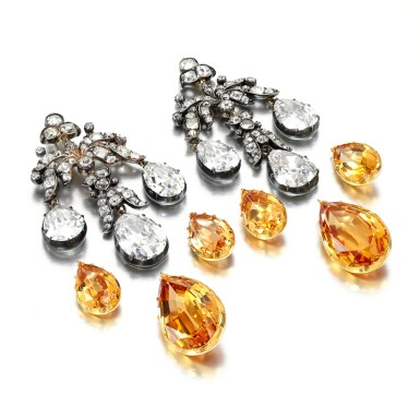 View 2. Thumbnail of Lot 155. PAIR OF TOPAZ AND DIAMOND EARRINGS, MID 19TH CENTURY AND LATER.