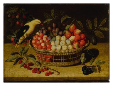 View 1. Thumbnail of Lot 638. Still life with cherries, plums, raspberries and other fruits in a basket, with a yellow bird.