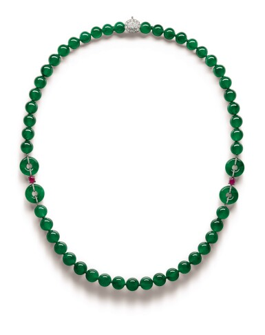 View 1. Thumbnail of Lot 1765. A Fine and Unique Jadeite Bead, Diamond and Ruby Necklace | 【四季平安】天然翡翠珠 配 鑽石 及 紅寶石 項鏈.