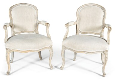 View 1. Thumbnail of Lot 191. A PAIR OF LOUIS XV PAINTED AND CARVED FAUTEUILS À LA REINE MID-18TH CENTURY, PROBABLY SWEDISH.