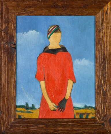 View 2. Thumbnail of Lot 110. Portrait of a Woman in Red.