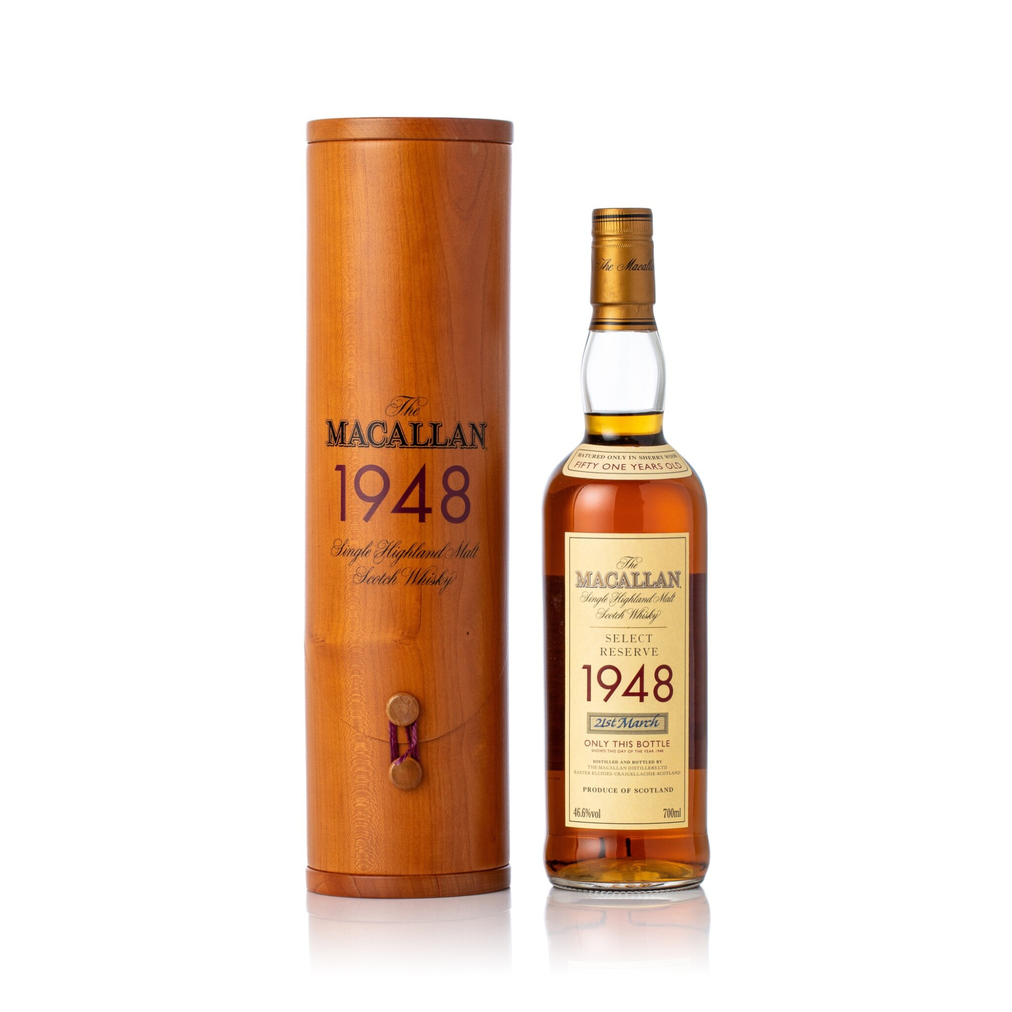 View full screen - View 1 of Lot 5007. The Macallan Select Reserve 51 Years Old 46.6 abv 1948 (1 BT70).