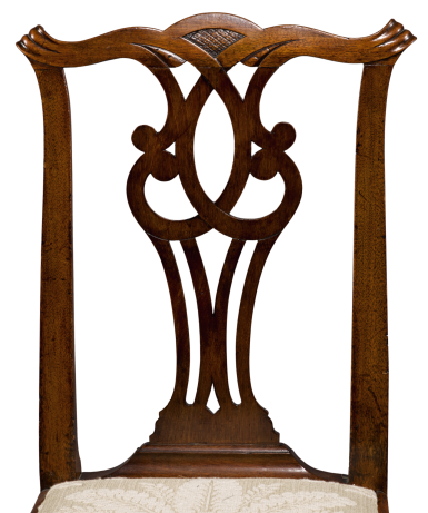 View 2. Thumbnail of Lot 1083.  IMPORTANT PAIR OF CHIPPENDALE CARVED MAHOGANY COMPASS SEAT SIDE CHAIRS, ATTRIBUTED TO JOHN TOWNSEND, NEWPORT, RHODE ISLAND, CIRCA 1770.