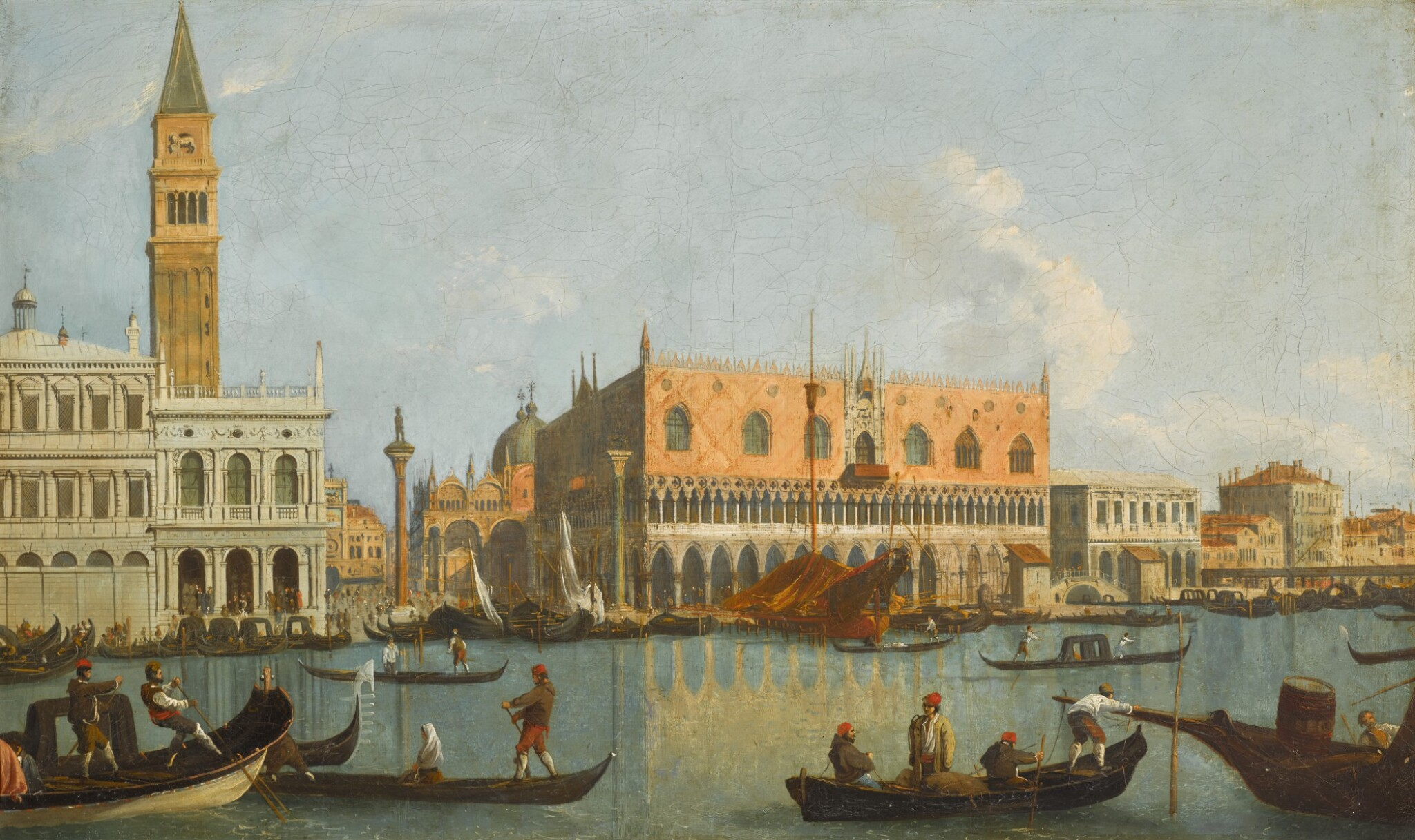 View full screen - View 1 of Lot 180. FOLLOWER OF GIOVANNI ANTONIO CANAL, CALLED IL CANALETTO | Venice, a view of the Bacino Di San Marco, looking east, with the Zecca, the Liberia, the Piazzetta and the Palazzo Ducale.