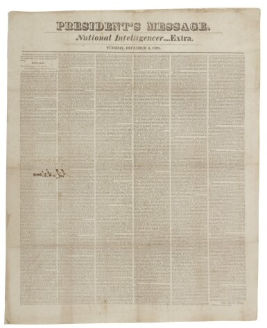 View 1. Thumbnail of Lot 116. ADAMS, JOHN QUINCY | John Quincy Adams's signed copy of his President's Message, in National Intelligencer Extra. [Washington], December 6, 1825.