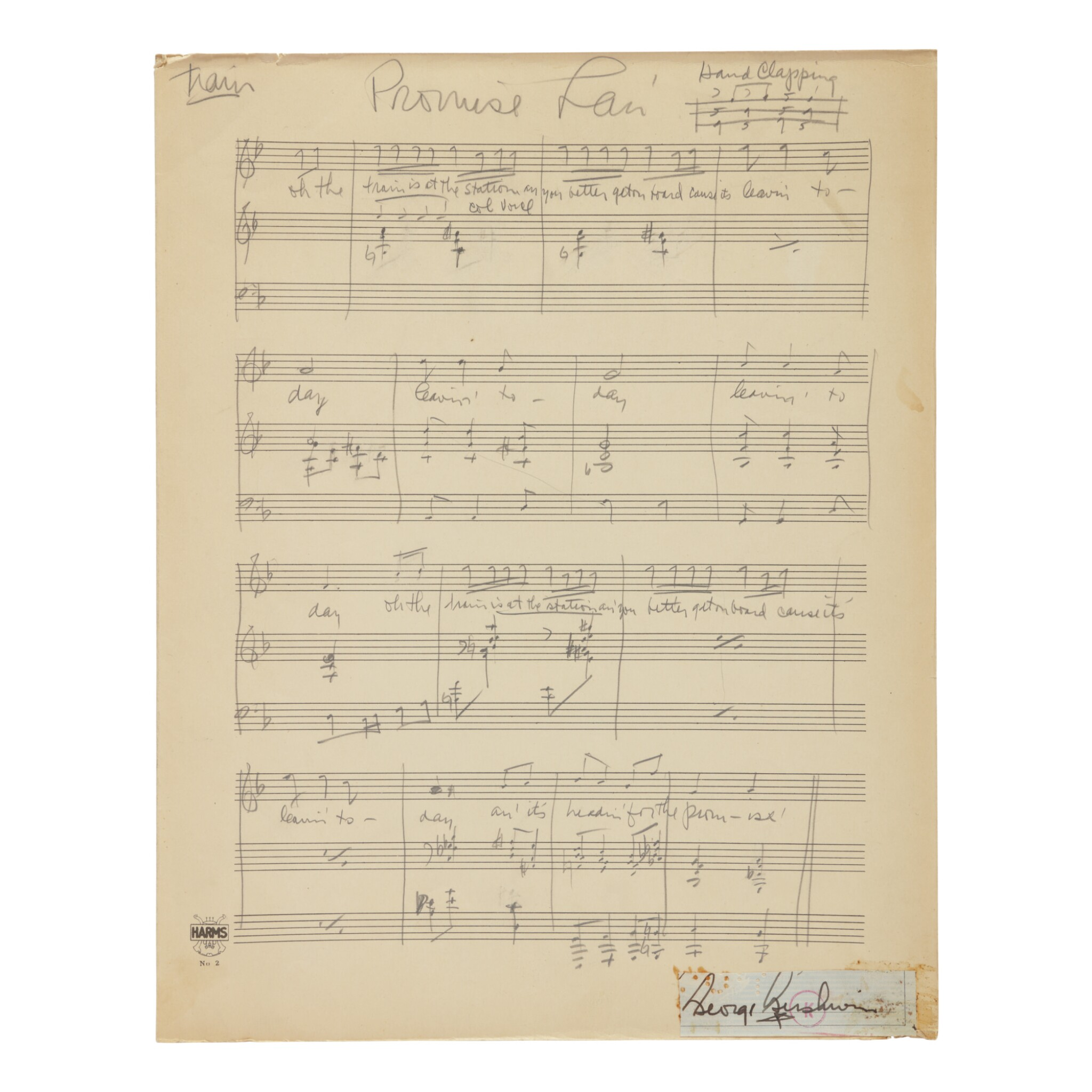 "View full screen - View 1 of Lot 185. GERSHWIN, GEORGE | Autograph music manuscript of ""Leavin' for de Promise' Lan'"" from the opera Porgy and Bess, Act One Scene Two."