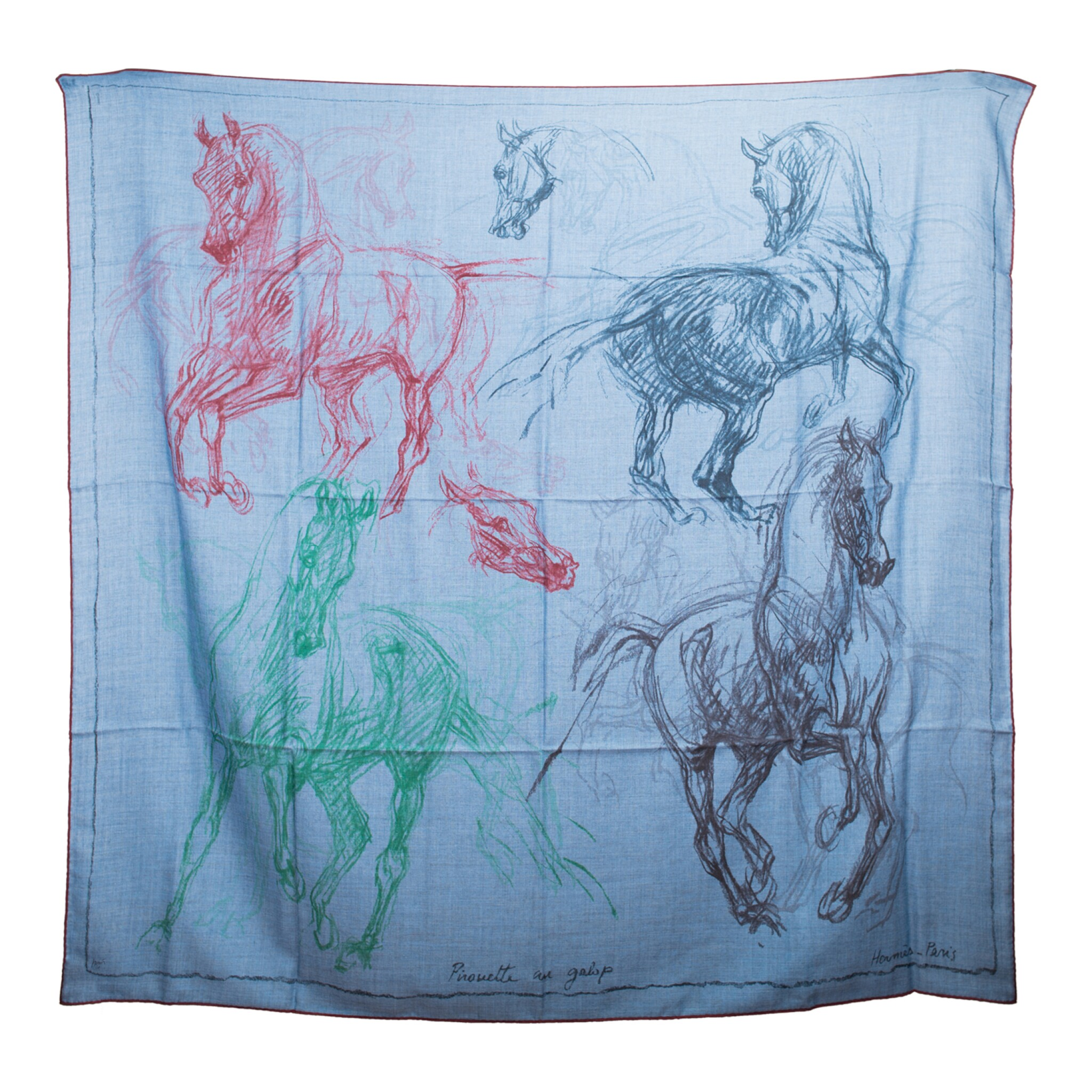 """View full screen - View 1 of Lot 25. Hermès """"Pirouette au Galop"""" Cashmere and Silk Shawl 140cm."""