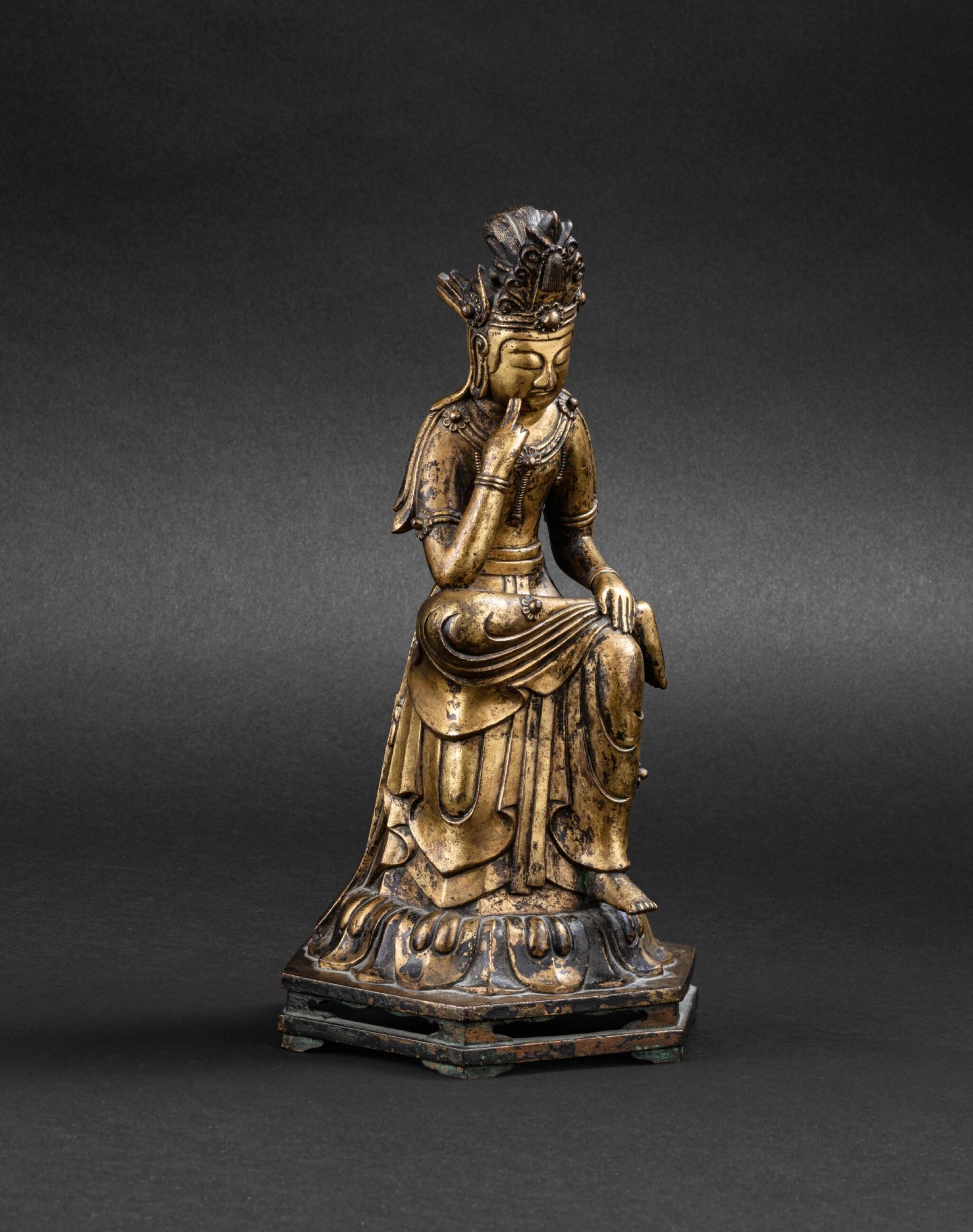View 1 of Lot 263. Figure de Maitreya en bronze doré Corée, probablement début XXE siècle   朝鮮 或為二十世紀初 鎏金銅彌勒佛坐像   A gilt bronze figure of seated Maitreya, Korea, probably early 20th century, in an earlier Joseon style.