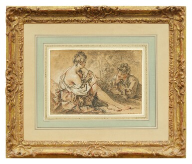 View 2. Thumbnail of Lot 21. FRANÇOIS BOUCHER | RECTO: YOUNG MAN MESMERIZED BY A NYMPH PLAYING THE FLUTE,  VERSO: FRAGMENT OF A MALE ACADEMY NUDE.