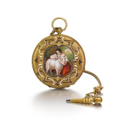 View 1. Thumbnail of Lot 291. AMI SANDOZ ET FILS | A LADY'S SLIM GOLD AND ENAMEL BAGNOLET WATCH, CIRCA 1850.