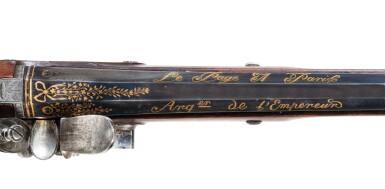 View 6. Thumbnail of Lot 11. A cased pair of French flintlock officer's pistols by Lepage, Paris, 1806 | Rare présent de l'Empereur Napoléon Ier au Duc Antonio Litta, cassette nécessaire de pistolets à silex par LEPAGE, arquebusier de l'Empereur, Datés 1806.