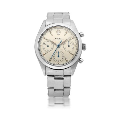 View 1. Thumbnail of Lot 401. ROLEX   'PRE-DAYTONA', REF 6238 STAINLESS STEEL CHRONOGRAPH WRISTWATCH WITH BRACELET CIRCA 1963.