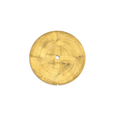 View 8. Thumbnail of Lot 67. A fine Safavid gilt-brass astrolabe made for Imam Mirza Razi al-Din Muhammad Husayni al-Mawsawi (d.1701), signed by Muhammad Husayn ibn Muhammad Baqir al-Yazdi, decorated by Muhammad Mahdi al-Yazdi, Persia, circa 1660.