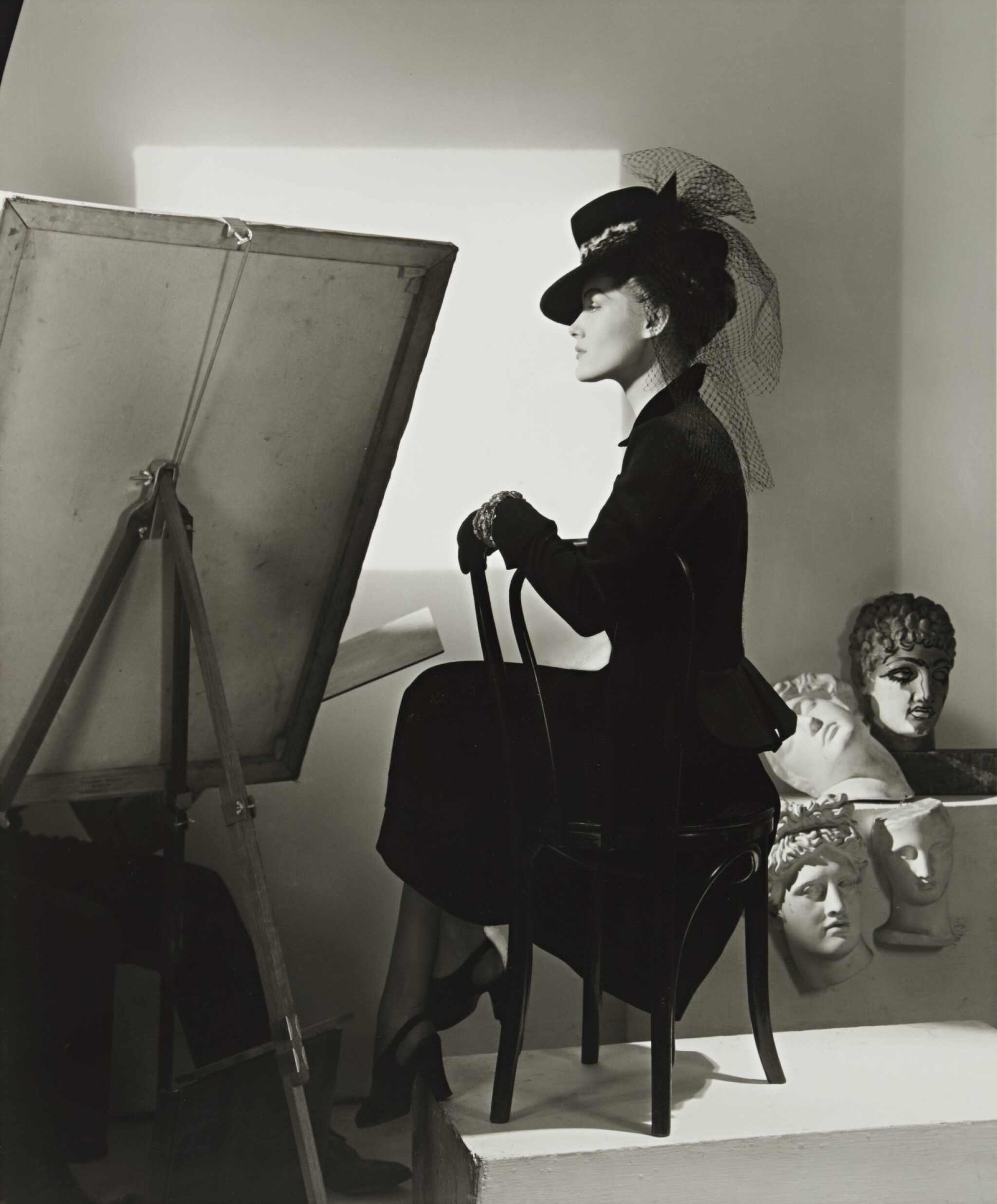 View full screen - View 1 of Lot 130. Fashion with Easel, Reboux Hat, Cartier Jewels (Estrella Boissevain).