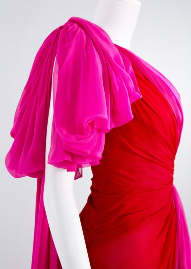 View 6. Thumbnail of Lot 35. Red and Fuchsia Pink Silk Chiffon Asymmetrically Draped Couture Gown, Worn by Marisa Tomei for the 2019 Emmy Awards, Autumn-Winter 2019/20 Collection.