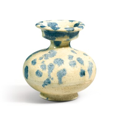 View 1. Thumbnail of Lot 238. A BLUE-SPLASHED VASE TANG DYNASTY | 唐 白釉藍彩唾壺.