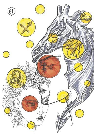 View 8. Thumbnail of Lot 5. Elie Top, Yellow Sapphire, Garnet and Diamond Ring [Bague Diamants, Grenat Mandarine et Saphirs Jaunes], 'Feu D'été'.