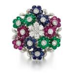 Nardi, attributed to | Gem-set and diamond ring, 1960s