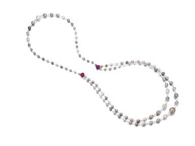 View 2. Thumbnail of Lot 126. Natural pearl, diamond and ruby sautoir/necklace combination | 天然珍珠配鑽石及紅寶石長項鏈/項鏈組合.