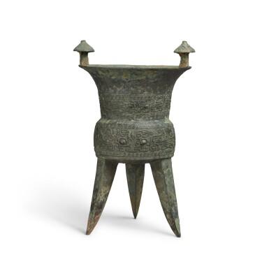 View 1. Thumbnail of Lot 4. An archaic bronze ritual wine vessel (Jia), Middle Shang dynasty   商中期 青銅饕餮紋斝.