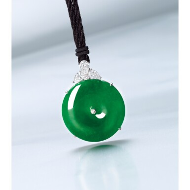 View 2. Thumbnail of Lot 1671. A FINE AND RARE JADEITE, DIAMOND AND SAPPHIRE PENDENT NECKLACE   天然翡翠雕「懷古」 配 鑽石 及 藍寶石 項鏈   .
